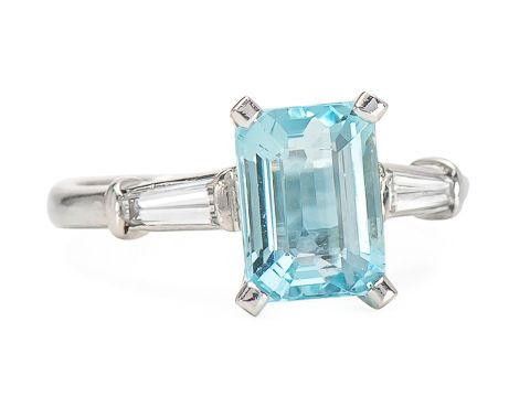 Caribbean Cool Aquamarine Diamond Ring - The Three Graces