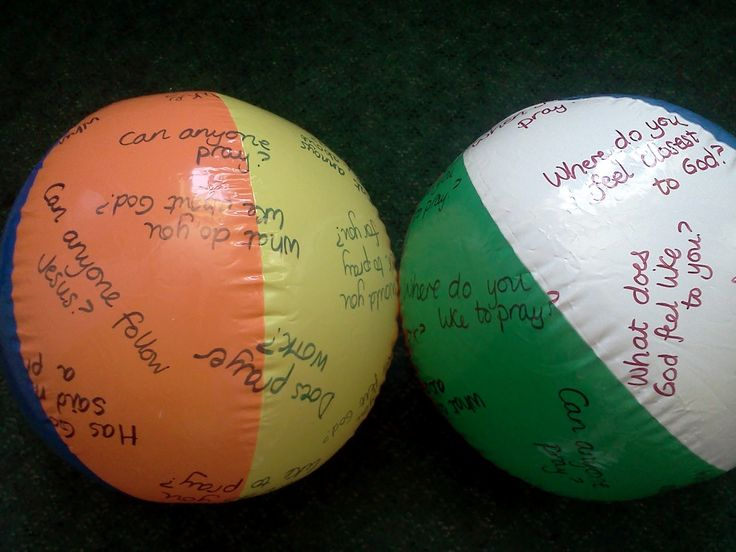 Children going deeper with God: Reflection question beach balls.  Catch and answer!