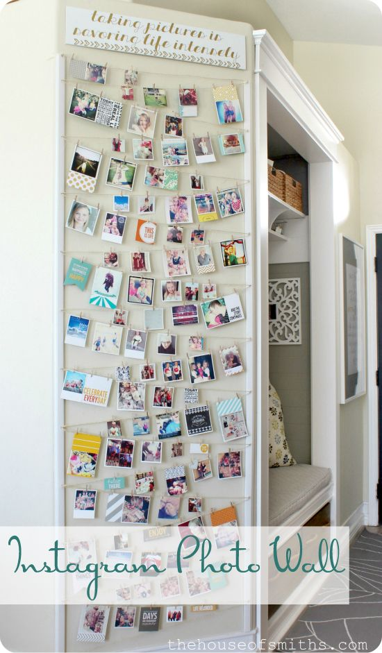 Instagram photo wall display idea. #instagramphotos #photography #photowall