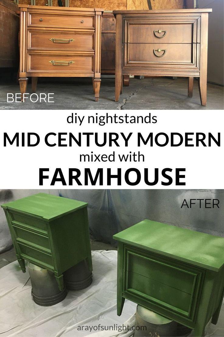 DIY Emerald Green Mismatched Nightstands Green