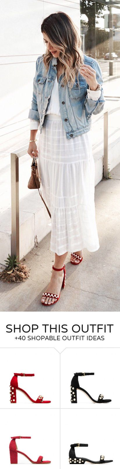 #summer #outfits  I'm Going To Live In These Sandals All Summer Long! // Denim Jacket   White Lace Maxi Skirt   Red Sandals
