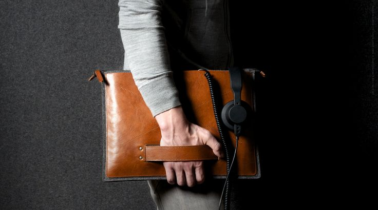 Leather and 100% wool felt laptop sleeve from hard graft | hard graft