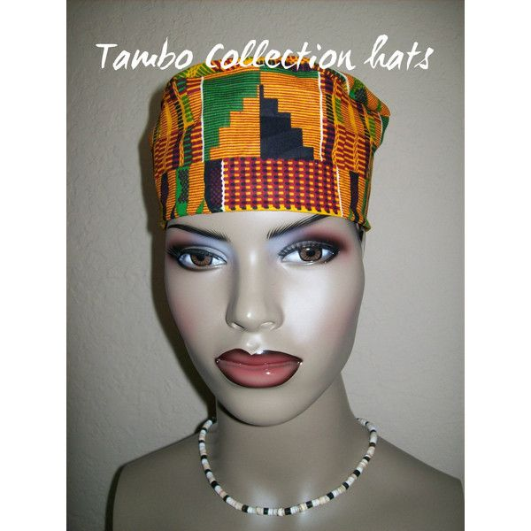 Kente 2 Women's High Top Kufi Hat African Hat Kufi African Hat African... ($15) ❤ liked on Polyvore featuring accessories, black, hair accessories, pattern hats, print hats, party hats, african hats and church hats