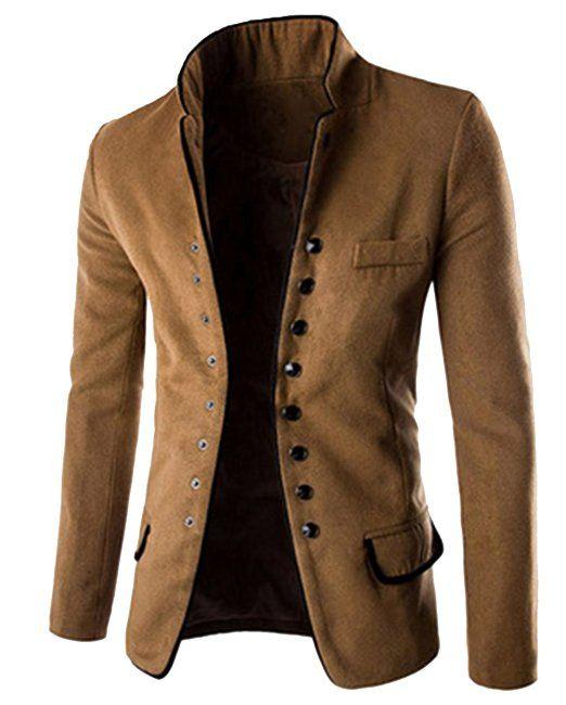 Homme Costumes Manteau Veste Classique Blouson Manches Longues Rétro Marron L