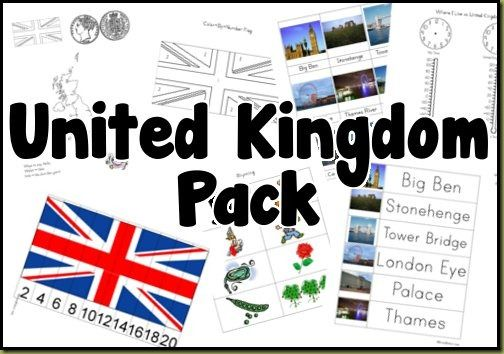 Free United Kingdom pack includes sights, rhyming, puzzles, weather, time, writing practice, maps, and more