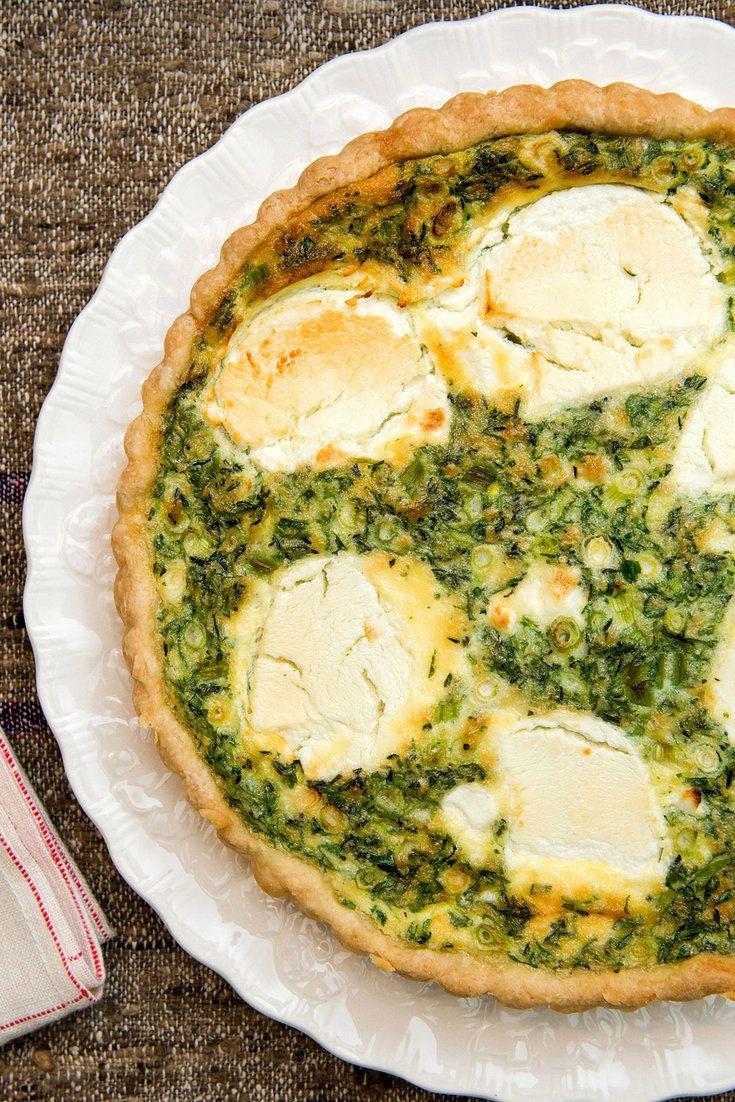 This green quiche laden with herbs and with thin slices of fresh goat cheese baked on top has a Gallic rusticity A proper quiche (also known as a tarte salée, or savory open pie) should have really good pastry and contain a soft, tender eggy custard It should be light enough to serve as a first course, or in larger portions for a simple main course