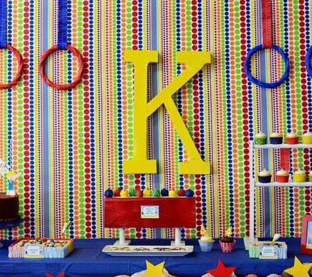 Gymnastics Birthday Party..bring the elements of the gym into the design of your table display