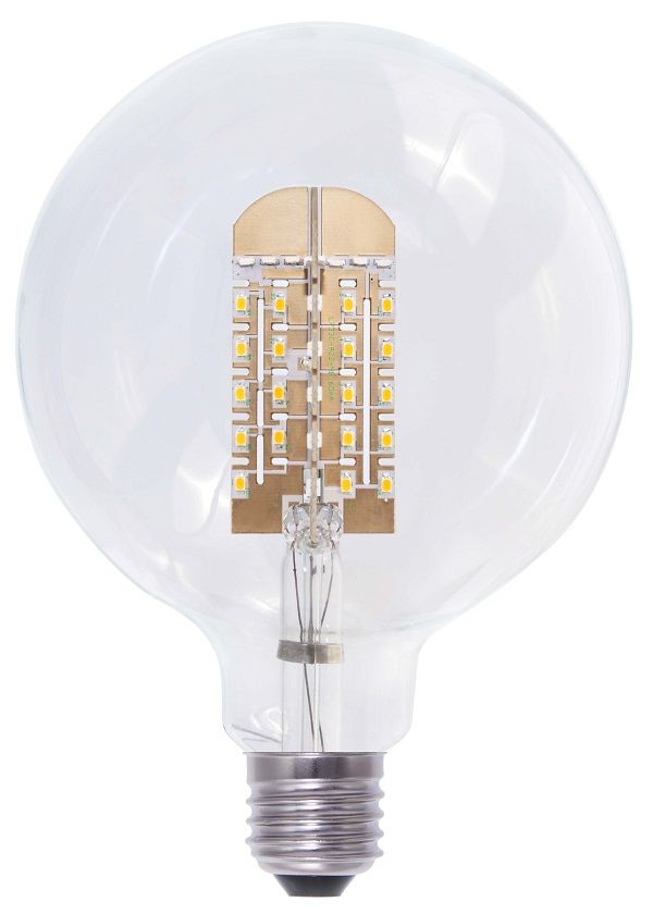The 9-watt G125 Clear Dimmable LED Globe (E27/Edison Screw Base Configuration) look like an average incandescent light bulb, but don't let its exterior appearance fool you. This LED bulb packs the technology that blows any incandescent or halogen lamp out of the water as far as energy efficiency is concerned.