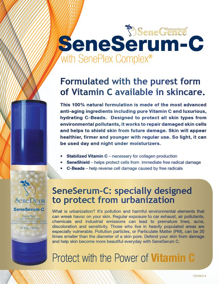 Introducing a NEW and IMPROVED SeneSerum-C! A 100% natural blend of the most advanced anti-aging ingredients known today, this 'urbanization' defense formula is made for all skin types and works to repair damaged skin cells while helping to prevent further damage to create healthier, firmer, younger looking skin. So light, it can be used night and day under moisturizers.