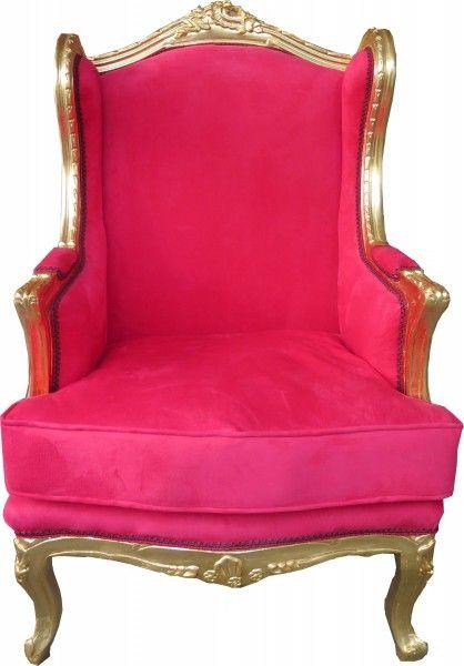Casa Padrino Barock Lounge Thron Sessel Rot / Gold - Ohren Sessel - Ohrensessel Tron Stuhl Sessel Ohrensessel