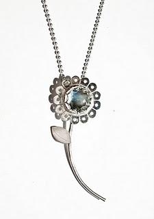Silver Daisy Mae Flower Stem with Rose Cut Blue Topaz