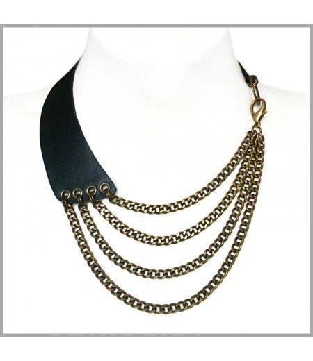 Maxi Collar Piel Negra
