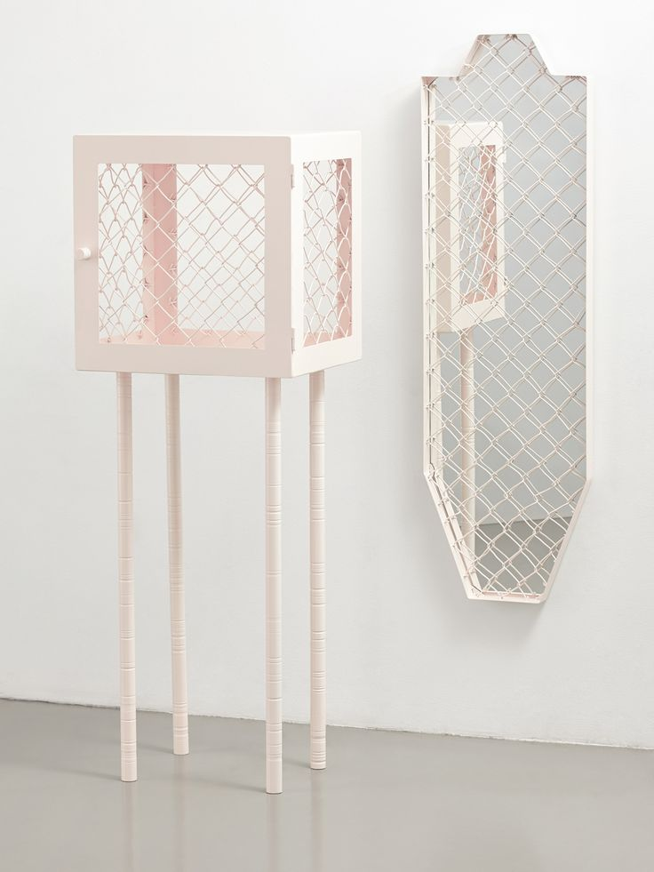 Cabinet and mirror in metal and metal mesh par Lotta Lampa