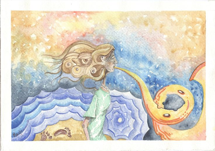 2.- Despierta. Las huellas cadena han dejado tras su sombra en el intrincado laberinto. Psique su diáfana cabellera de ocres tonalidades sus eclipsados labios une en un suspiro donde el mar atardece. Fantásticas anémonas que geométricas refulgen la banda solar unen en torno a su tocado, sonoras ondas la pieza musical, eco en su figura. Marcas en la arena reflejadas en el agua, eternizadas en la bóveda que celeste bosteza su espejo en el argénteo refulgir de las templadas ondas. *