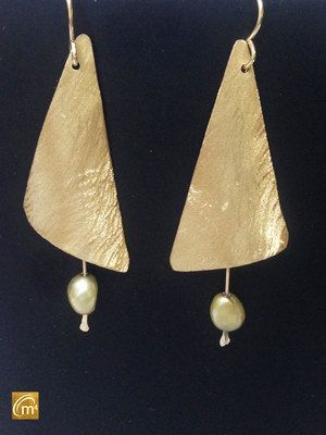 Brushed Brass Sail Earrings With Cultured Freshwater Pearls by MeAndMyMansJewelry on Etsy
