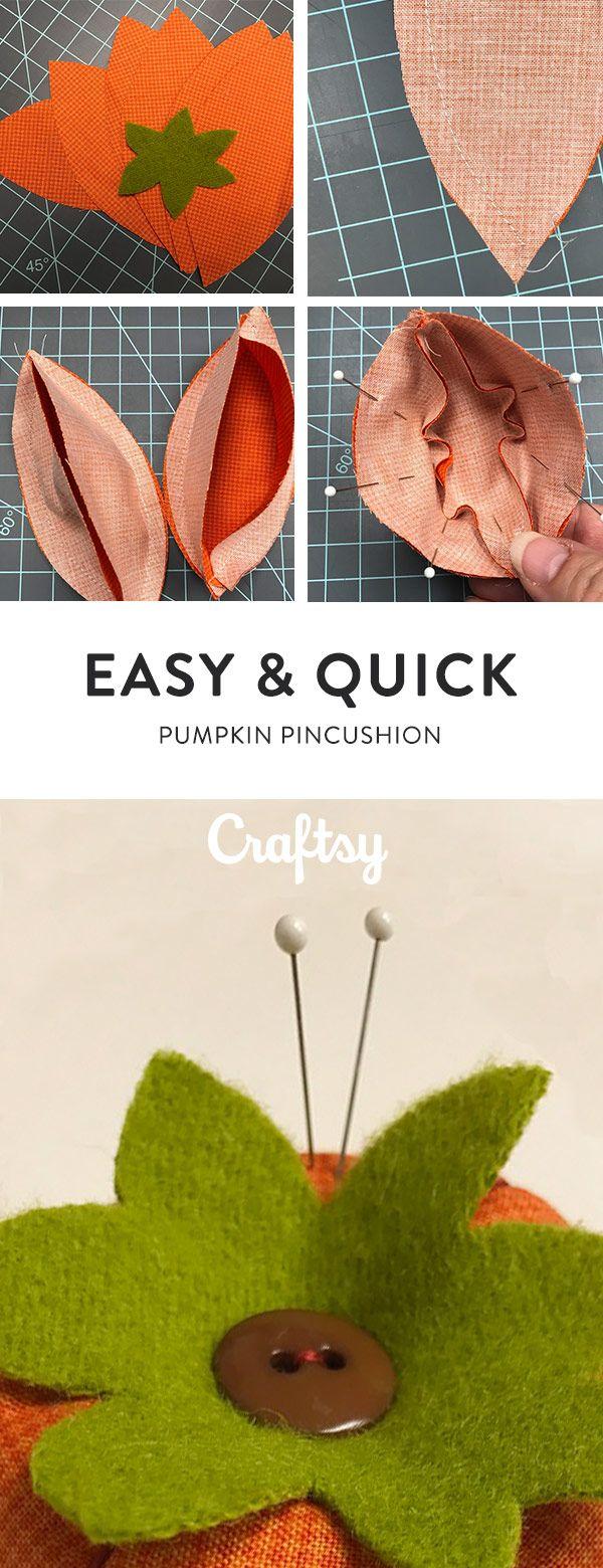 A Quick u0026 Cute Pumpkin Pincushion Sewing