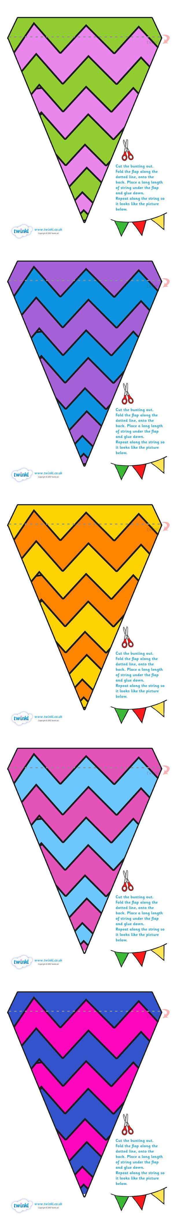 Twinkl Resources >> Display Bunting Zig Zags  >> Classroom printables for Pre-School, Kindergarten, Primary School and beyond! bunting, display bunting, classroom bunting, decorative bunting, classroom wedding, zig zags, patterened,