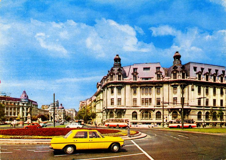 "Romania - Bucharest [061] - Universitatea [01] - front | RetROmania #243  70s postcard from Romania, Bucharest / Bucuresti, the University Square / Piata Universitãtii, featuring MOSKVITCH 408 / Москвич 408, TV-2E trolleybus (x3 min), VW Beetle / Käfer / Broască, MERCEDES-BENZ W114/115 ""Strich Acht"", DACIA 1100 and others"