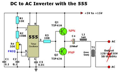 DC to AC Inverter with IC555