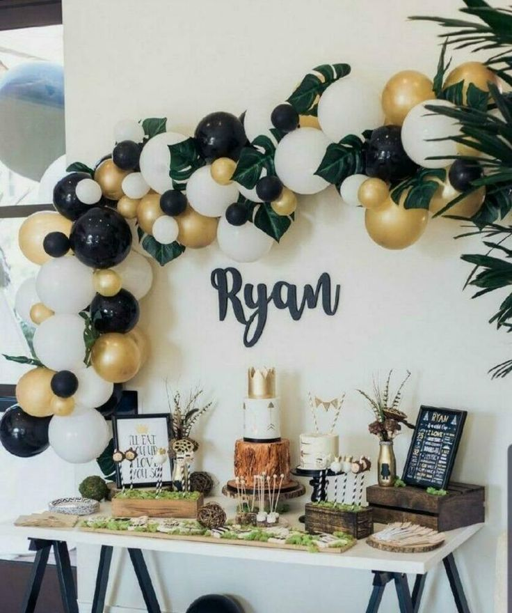 Diy Gold Black White Balloon Garland Kit Party Decorations