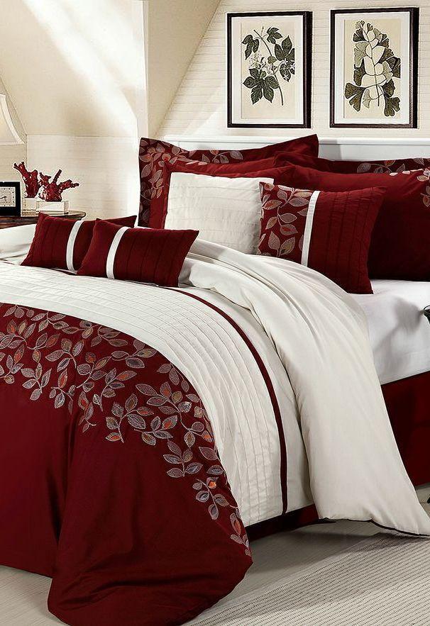 Red Montana Embroidered Comforter Set