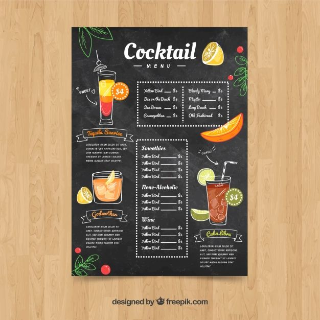 Cocktail Menu Template In Hand Drawn Style Cocktail Menu Drink Menu Menu Template