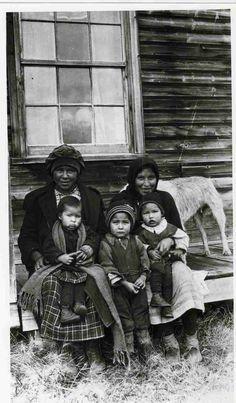 """Montagnais Family"" - 5 people and a dog - No names - ca. 1910-1929"