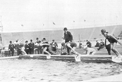 1908 Olympic swimming pool in London .The pool in the White City Stadium was removed immediately after the Olympics, and the stadium was demolished in 1985.
