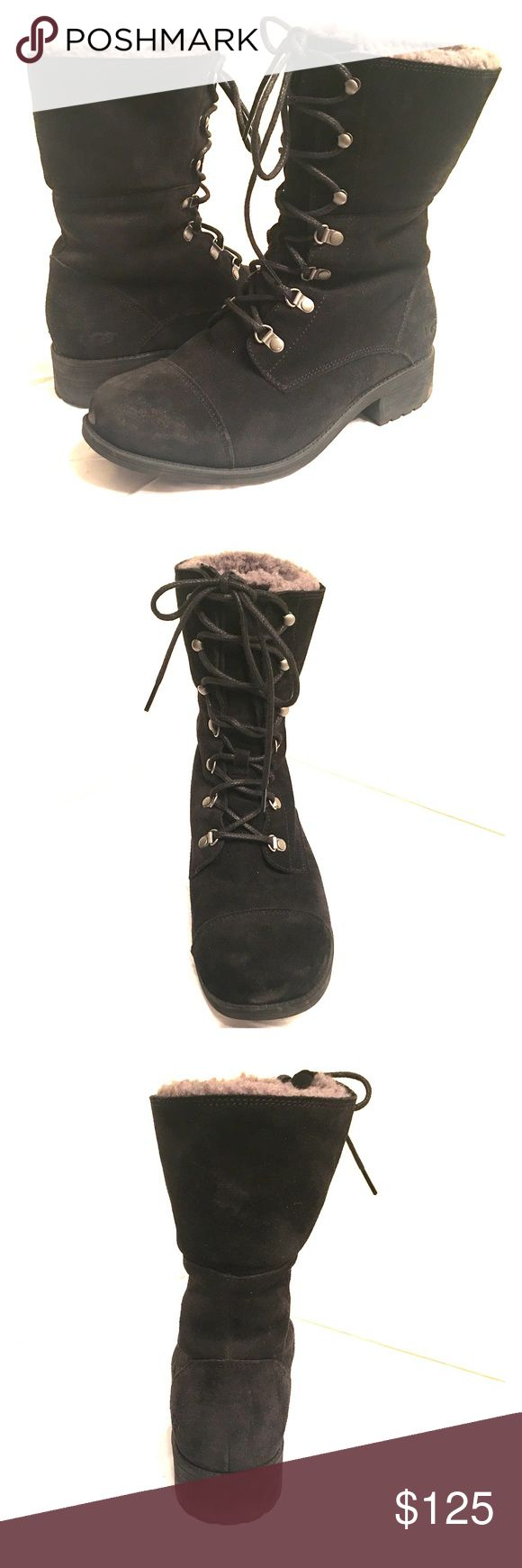 UGG black lace up boots UGG lace up combat boot style, wool insole, these boots are unbelievably warm and comfortable. Rarely worn, purchased in November 2016 in UK. UGG Shoes Lace Up Boots
