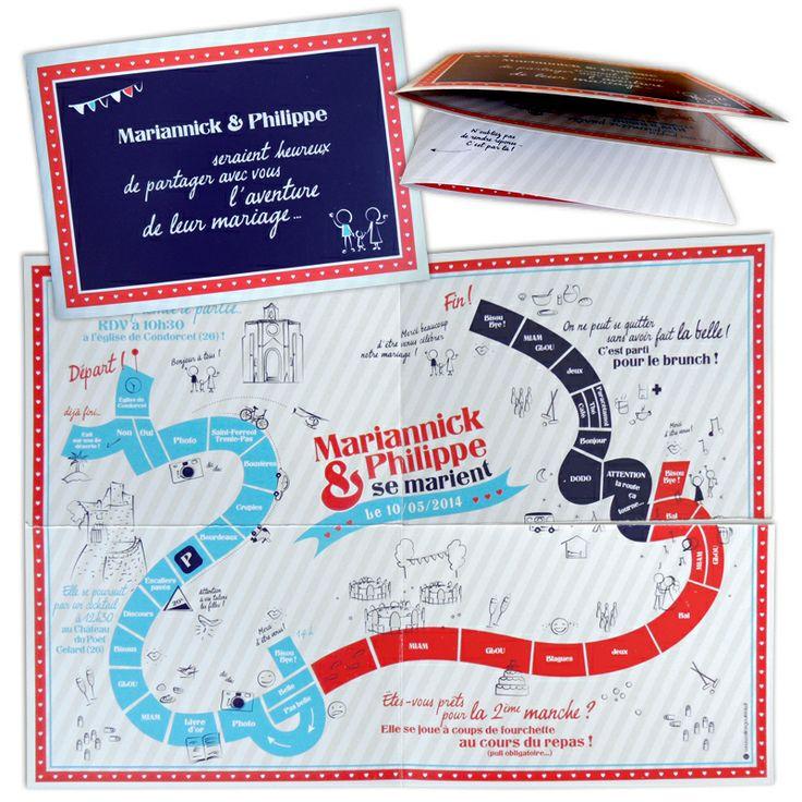 Faire-part de mariage prenant la forme originale d'un plateau de jeu de l'oie ; le mariage étant sur le thème du jeu !