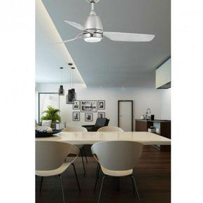 A la fois ventilateur et plafonnier lumineux, ce luminaire est un réel accroche regard moderne qui illumine et épure votre intérieur. Ce magnifique ventilateur de plafond arbore 3 pales habillées d'un coloris nickel satiné.