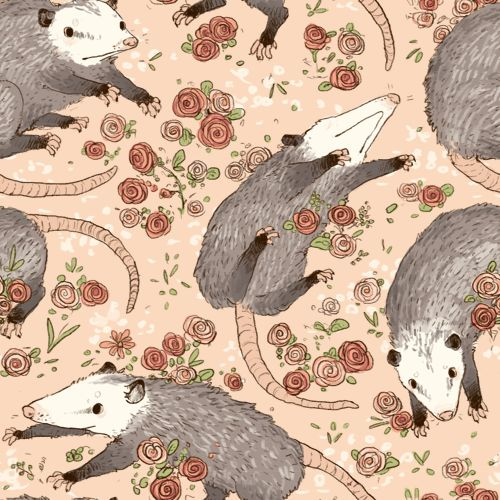 These befuddled possums just make me laugh. // Repeating Possum and Roses tile // by Gwendolyn Wood (http://goat-soap.tumblr.com/)