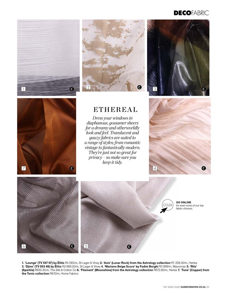 THE FABRIC LIBRARY | Textile add an important element of softness and comfort to your home. #IdeasIssue #Textile #Fabric #Ethereal Download your free version here elledecoration.co... 14m