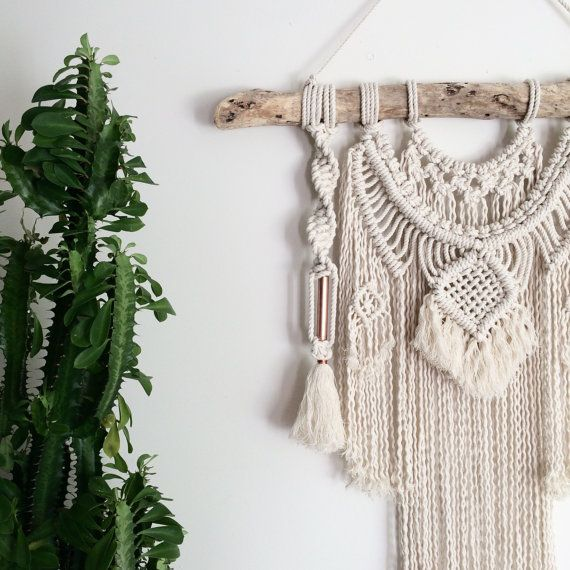 Macrame Wall Hanging || Natural Cotton + Copper on Driftwood with Tassels + Fringing | Majestic Jewel |Boho Luxe, Nursery Art, Gypsy Decor