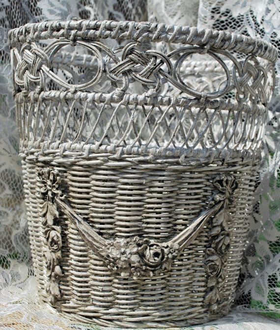 Barbola Roses Swags and Bows Wicker Wastebasket by CrabappleLane, $25.00