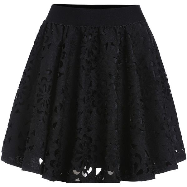 Elastic Waist Hollow Flare Skirt ($18) ❤ liked on Polyvore featuring skirts, black, elastic waist skirt, skater skirt, black circle skirt, short flared skirts and circle skirt