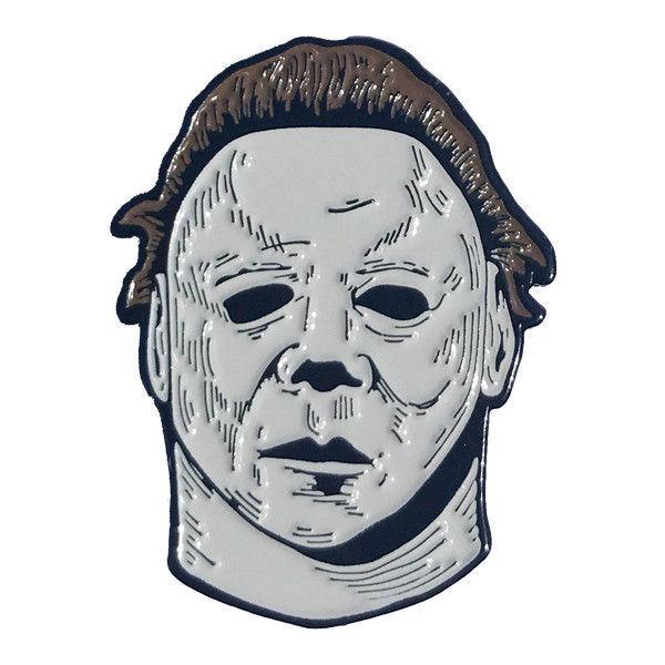 Halloween 2 Michael Myers Enamel Pin ($12) ❤ liked on Polyvore featuring jewelry, brooches, enamel brooches, pin brooch, enamel jewelry and pin jewelry