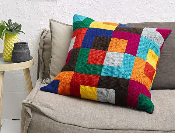 Colourful knit mitred square cushion by Panda Australia