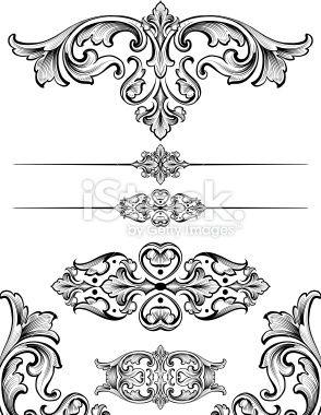 Vintage Scroll Symmetry Royalty Free Stock Vector Art Illustration