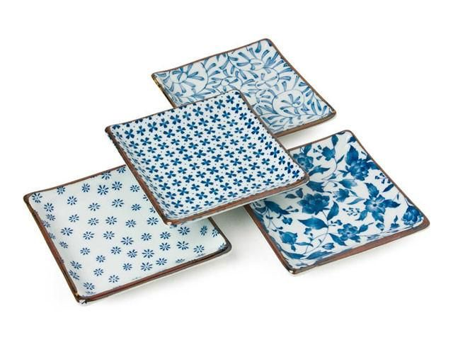 // Assorted Blue on White Design Square Plate Set
