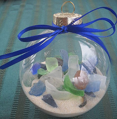 sea glass bulbs - would be a cute gift for friends and good way to use some of the sea glass we've collected.