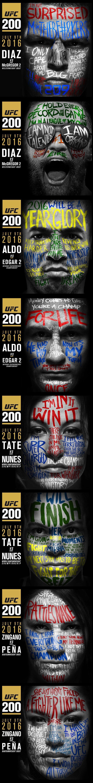 Nate Diaz vs Conor McGregor / Jose Aldo vs Frankie Edgar / Miesha Tate vs Amanda Nunez / Cat Zingano vs. Julianna Pena  #UFC200 event poster : if you love #MMA, you'll love the #UFC & #MixedMartialArts inspired fashion at CageCult: http://cagecult.com/mma