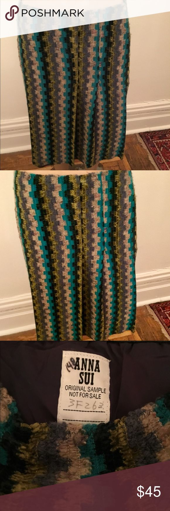 Anna Sui Nubby striped skirt This is a nubby zigzag striped skirt of turquoise, purple and blue by Anna Sui. As you can see from the label it is an original sample. Measurements are: Waist 32 Hip 36 Length 24 Anne Sui Skirts Midi