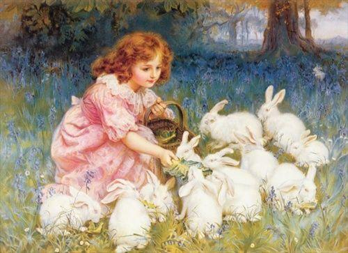 Frederick MorganRabbit, Frames Prints, Alice In Wonderland, Art Prints, Feeding, Children, Bunnies, Art Painting, Frederick Morgan