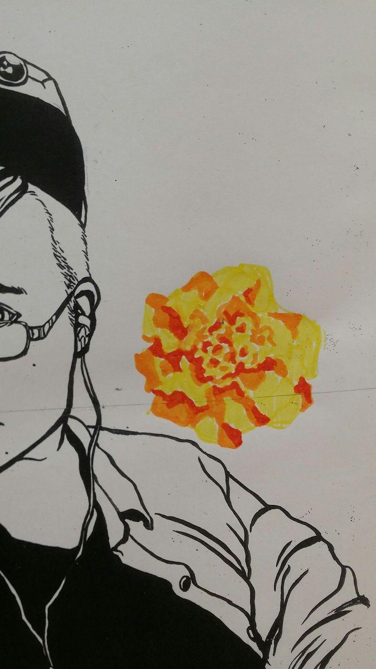 media test work towards finals - felt pens on photocopy of previous work