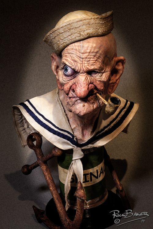 3D Printed Sculpture of an Aged Popeye the Sailor Man by Rick Baker