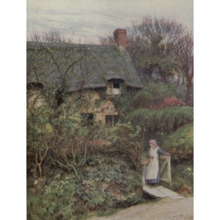 Happy England 1904 Farringford one of Tennysons Cottages Canvas Art - Helen Allingham (18 x 24)