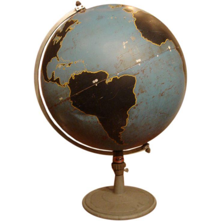 Vintage Military Globe by Denoyer Geppart USA