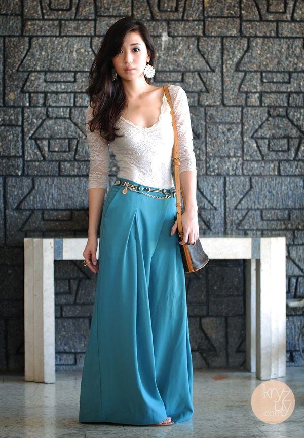 Long flair skirt