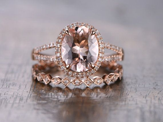 8x10mm Oval Cut Pink Morganite Ring Bridal Set,Split Band Engagement Ring,14k Rose Gold Morganite Engagement Ring Morganite Wedding Ring Set